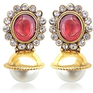 Elegant Dark Pink Rani Stone With Pearl Earring Jewelry