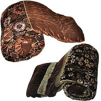 UFC Mart Jaipuri Floral Brown Double Bed Velvet Quilt & Get Single Bed Golden Velvet Quilt