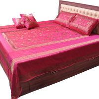 UFC Mart Embroidered Magenta Silk Double Bed Cover Set