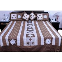 UFC Mart Brown Jaipuri Silk Double Bed Cover With 4 Pillow Cover