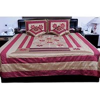 UFC Mart Maroon Jaipuri Silk Double Bed Cover With 4 Pillow Cover