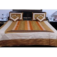 UFC Mart Golden Brown Silk Double Bed Cover With 4 Pillow Cover