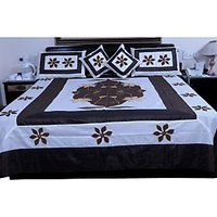 UFC Mart Brown White Silk Double Bed Cover With 4 Pillow Cover