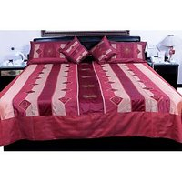 UFC Mart Magenta Jaipuri Silk Double Bed Cover With 4 Pillow Cover