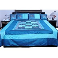 UFC Mart Beautiful Blue Jaipuri Silk Double Bed Cover With 4 Pillow Cover