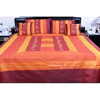 UFC Mart Orange Jaipuri Silk Double Bed Spread With 4 Pillow Cover