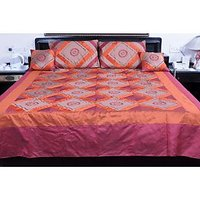 UFC Mart Orange Pink Silk Double Bed Cover With 4 Pillow Cover