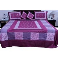 UFC Mart Jaipuri Magenta Silk Double Bed Cover With 4 Pillow Cover