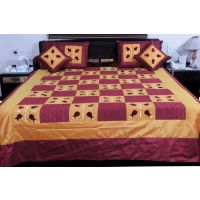 UFC Mart Brown Maroon Silk Double Bed Spread With 4 Pillow Cover
