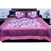 UFC Mart Voguish Pink Embroidered Silk Double Bed Cover With 4 Pillow Cover