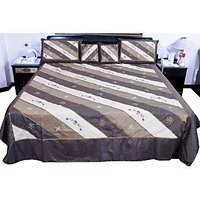 UFC Mart Pretty Embroidered Silk Double Bed Cover With 4 Pillow Cover
