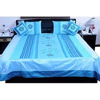 UFC Mart Blue Embroidered Silk Double Bed Cover With 4 Pillow Cover