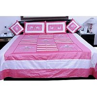 UFC Mart Stylish Pink Embroidered Silk Double Bed Cover With 4 Pillow Cover