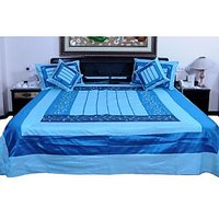 UFC Mart Instyle Embroidered Silk Double Bed Cover With 4 Pillow Cover