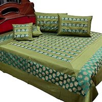UFC Mart Nice Rajasthani Silk Double Bed Cover With 4 Pillow Cover
