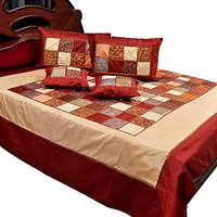 UFC Mart Classic Chess Design Silk Double Bed Cover With 4 Pillow Cover