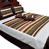 UFC Mart Classy New Designer Silk Double Bed Cover Cushion Set
