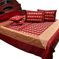 UFC Mart Banarasi Fine Silk Double Bed Cover With 4 Pillow Cover