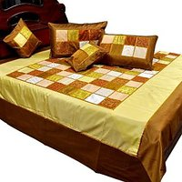UFC Mart Designer Golden Brown Silk Double Bedcover Set