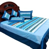 UFC Mart New Designer Silk Double Bed Cover Cushion Set