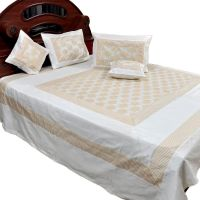 UFC Mart Cream White Silk Double Bed Cover With 4 Pillow Cover
