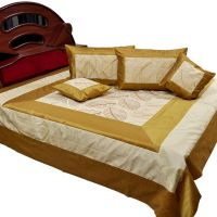 UFC Mart Golden Brown Silk Double Bed Cover Cushion Set