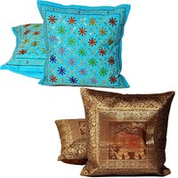 UFC Mart Multicolour Hand Embroidery & Mirror Work Cushion Cover Set (Buy 1 Get 1 Free)