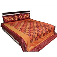 UFC Mart Classic Checks Design Gold Print Bed Cover