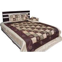 UFC Mart Pretty Checks Design Gold Print Bed Cover