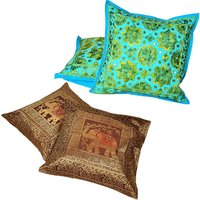 UFC Mart Brocade Work Multi & Jaipuri Colourful Handmade Cushion Cover Set Free