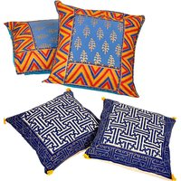 UFC Mart Multicolour 5 Piece Jacquard Silk Cushion Cover Set (Buy 1 Get 1 Free)