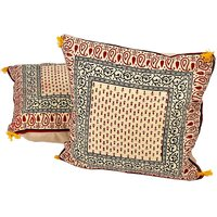 UFC Mart Hand Block Printed Cotton Cushion Cover Pair