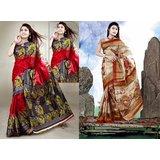 MySilk Printed Art Silk Saree Pack Of 2