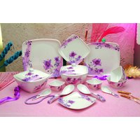 Neozaa 40 Pcs Square Dinner Set (flora)
