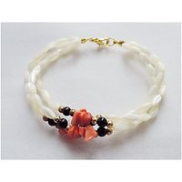 Three Strands Knotted Pearl, Black Onyx, Carnelian Chips Bracelet, Adorn With Gold Plated Beads, Secure With Metal Clasp