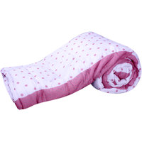 Glitter Trading Inc White Cotton Printed Single Bed Jaipuri Quilt Red Polka Dots
