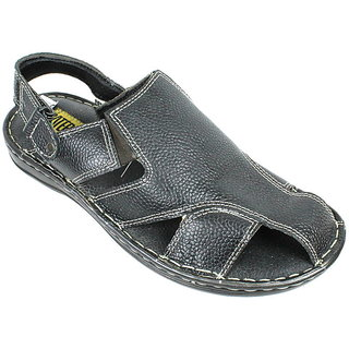 JerryMouse.in Mens Black Leather Sandals - MSAN0003