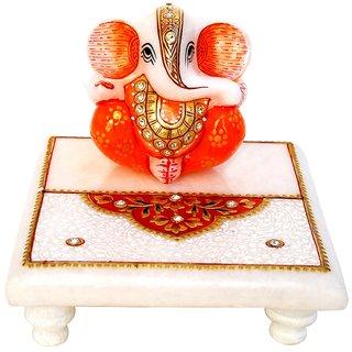 Marble Meena Work Chowki With Designer Ganesha