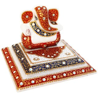 Marble Ganesha Placed On Step Chowki With Kundan Work