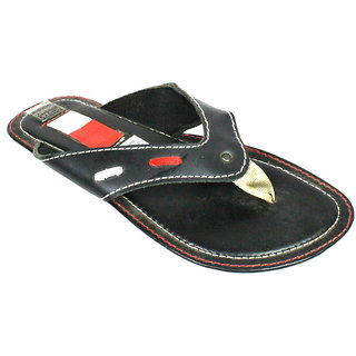 JerryMouse.in Mens Black Leather Slippers - MSLI0012