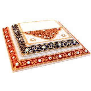 Marble Step Chowki With Red And Blue Enamel Work
