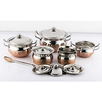 Mahavir 7Pc Stainless Steel Design Copper Cook N Serve Set