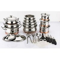 Mahavir 26Pc Stainless Steel Copper Bottom Cook N Set With Knife Set