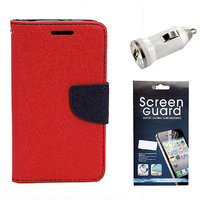 KolorEdge Mercury Fancy Dairy + Screen Guard + Car Charger For  Motorola Moto G - Red (KEMercuryMotoGred+Sg+Cc)KEMercuryMotoGred+Sg+Cc