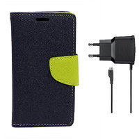 KolorEdge Mercury Fancy Dairy + Travel Charger For  Motorola Moto G - Blue (KEMercuryMotoGblue+TC)KEMercuryMotoGblue+TC