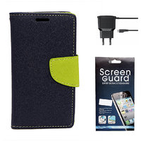 KolorEdge Mercury Fancy Dairy + Screen Guard + Travel Charger For  Motorola Moto G - Blue (KEMercuryMotoGblue+SP+TC)KEMercuryMotoGblue+SP+TC