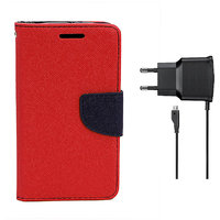 KolorEdge Mercury Fancy Dairy + Travel Charger For  Motorola Moto G - Red (KEMercuryMotoGred+TC)KEMercuryMotoGred+TC