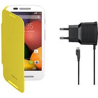 KolorEdge Flip Cover + Travel Charger For  Motorola Moto E - Yellow (KEflipmotoEYellow+TC)KEflipmotoEYellow+TC