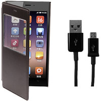 KolorEdge Flip Cover +  USB Data Cable For  Xiaomi Mi3 - Brown (KEGlassflipMi3Brown+UDC)KEGlassflipMi3Brown+UDC