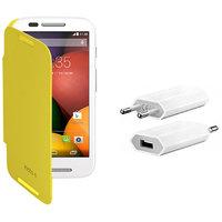 KolorEdge Flip Cover + USB Charger For  Motorola Moto E - Yellow (KEflipmotoEYellow+UC)KEflipmotoEYellow+UC